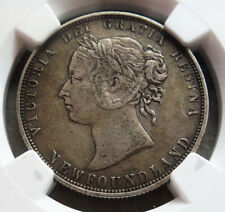 1874 SILVER NEWFOUNDLAND 50 CENTS VICTORIA COINAGE NGC EXTREMELY FINE 40