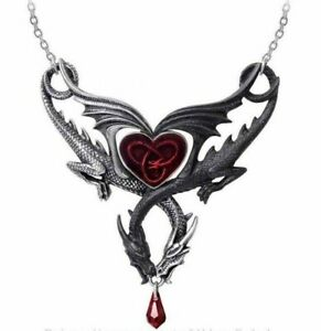 Alchemy England - The Confluence of Opposites Necklace Dragons Love Heart Gothic
