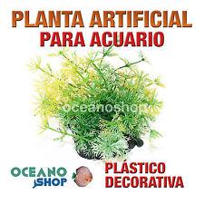 PLANTA ARTIFICIAL VERDE 13CM DIÁMETRO DECORACIÓN ACUARIO PECERA PLÁSTICO D95
