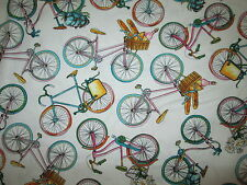 BIKE BICYCLE BASKETS FOOD WHITE PASTEL COLORS COTTON FABRIC BTHY