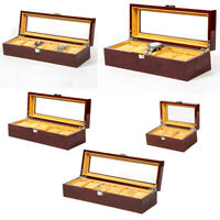 Solid Wood Watch Box Organizer with Glass Display Top Watch Store Display
