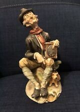 Vintage Old Man figure Hat Music Box figurine Dog Under 8�