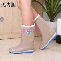 Womens Wedge Platform Rain Boots Waterproof Wellies Rubber Knee High Boots shoes