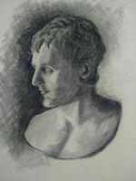 Beau dessin fusain 1950 Monaco portrait homme à l'antique signé parfait état