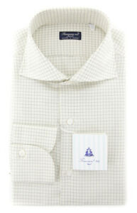 New $425 Finamore Napoli Off White Check Shirt - Slim - (FN88178)