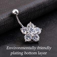 Belly Body Bar  Steel Star Crystal Gem  Navel Button Ring Stud Piercing