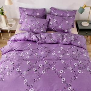 Floral Print Duvet Cover Pastoral Style Bedding Set Bedclothes Pillowcase Modern
