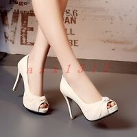 Chic Womens Peep Toe High Stiletto Heel Slip On Pumps Bowknot Party Sandal Shoes