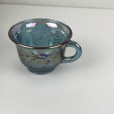 Vintage Indiana Princess Iridescent Blue Carnival Glass Punch Bowl 12 Cups