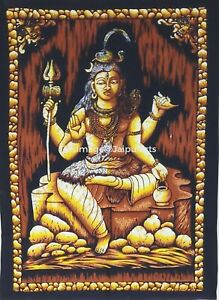 Indian Shiva Batik Hindu God Religion Poster Wall Hanging Flag Tapestry Decorate