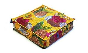 """Handmade Cotton Kantha Indian Square Pouf Ottoman Seating Cover 16X16X4"""" Inches"""