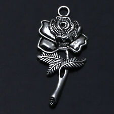 5 PCS Rose Flowers Tibet Silver Charms Pendants Crafts Jewelry Findings