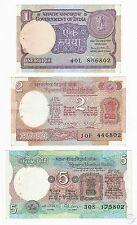 INDIA 1 2 5 Rupees Set 3 PCS 1975 1976 1991 P-78A 79 80 AU-AUNC