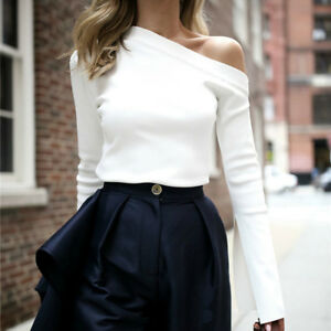 White Flare Long Sleeve Blouse Shirt Pure Off Shoulder Women Sexy Shirt Tops New