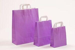 Papiertragetaschen VIOLETT Papiertüten LILA Tragetaschen Flachhenkeltaschen