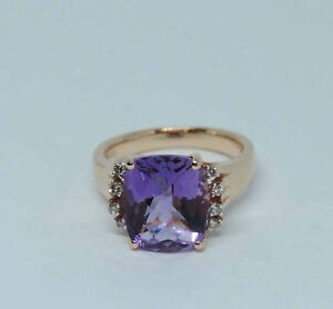 Genuine Checkerboard Cushion Amethyst Gemstone Ring w/ 8 Dia.- 14K Rose Gold