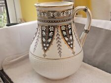 1870s MINTONS  BB VERY LARGE JUG / VASE WITH A FLORAL PATTERN  & BASKET WEAVE