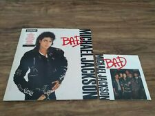 "Vintage 80s Michael Jackson Bad 12"" Album & Bad 7"" Single Vinyl Record Bundle"