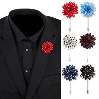 1X Lapel Flower Daisy Handmade Boutonniere Stick Brooch Pin Men Accessories FBCA