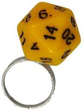 Adjustable d20 Dice Ring - Yellow Metallic Dice Games GAMING SUPPLY BRAND NEW