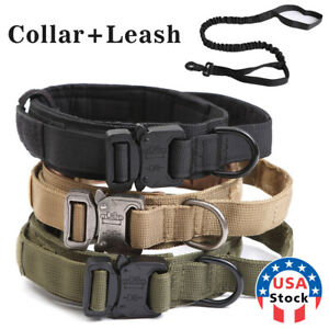 HEAVY DUTY K9 Military Dog Collar Leash Handle Medium Large metal Buckle