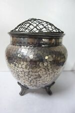 ANTIQUE W&CO EP SILVER PLATE FOOTED HAMMERED FINISH VASE URN ROSE POSY BOWL