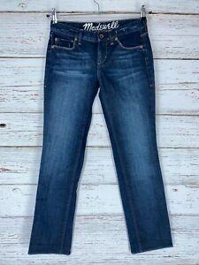 "Madewell Sz 27 Straight Leg Jeans Dark Wash Cotton Spandex 29"" Inseam Womens"