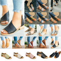 Women's Casual Flats Heel Gladiator Sandals Beach Summer Peep Toe Slip On Shoes