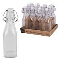 Clip Top Glass Bottles 250ml Airtight Oil Vinegar Dressing Juices Bottles 6 - 12