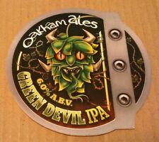 Beer pump clip badge front OAKHAM brewery GREEN DEVIL cask ale