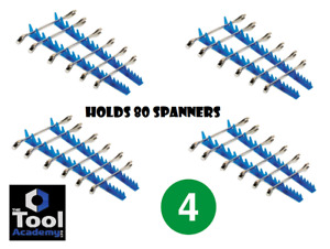 4x  Tools Blue Sharks Teeth Holds 80 Spanners Wrench Holder Rack