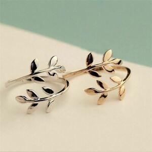 Rose Gold&Silver Plated Adjustable Olive Leaf Ring -Open Sizable Wedding Ring UK