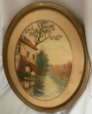 Vintage Original Etching By Charlot Oval Picture