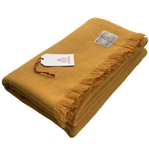 Harris Tweed Mustard Yellow Pure Wool Large Throw Blanket 150x200cm