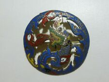 ANTIQUE ESTATE CHINESE JAPANESE STERLING SILVER ENAMEL DRAGON BROOCH PIN