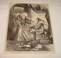 1877 magazine engraving ~ QUEEN ELIZABETH + Countess of Nottingham