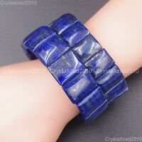Natural Lapis Lazuli Gemstone Rectangle Beaded Healing Reiki Stretchy Bracelet