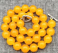 "12mm Natural yellow jade Gemstone Necklace 18 ""Tibetan silver clasps"