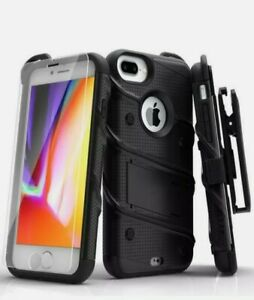 Case ZIZO BOLT iPhone 7 & 8 Plus (5.5 in) Combo with Temp Glass- Black/Black