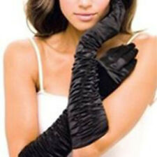 """Long Black Ruffle Gloves Sexy Adult Halloween Costume Accessory 18"""""""