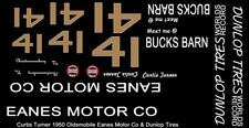 #41 Curtis Turner Eanes Motor Company 1950 Olds 1/64th HO Scale Slot Car Decals