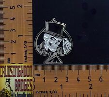 Ace of Spades Top Hat Skull  Bikers Lapel Pin / Badge