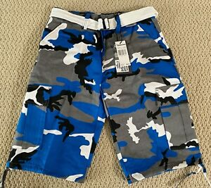 NWT Men's Regal Wear Blue White Camouflage Camo Belted Cargo Shorts ALL SIZES