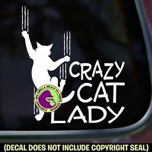 CRAZY CAT LADY Funny Vinyl Decal Sticker Car Pet Feline Window Bumper Kitty Sign