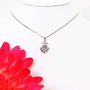 Dancing 0.30 Blue Topaz & Crystal Sterling Silver Anchor Cross Pendant w/ chain