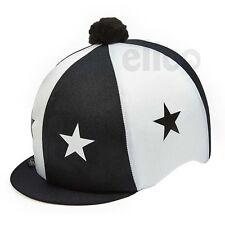 BLACK & WHITE STARS Equitazione Cappello seta Copertura per casco da fantino TAPPI Taglia Unica