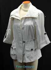 Peck & Peck Weekend White short Trench Coat light Jacket Zip 3/4 sleeves Size L