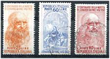 1952 Serie 5° Cent. Leonardo Da Vinci 3 valori USATI