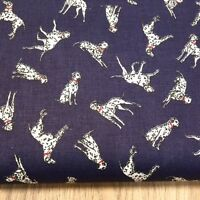Shabby Chic Dalmatians on Blue 100% Cotton Fabric. Price per 1/2 meter