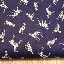 Shabby Chic Dalmatians on Blue 100% Cotton Fabric. Price per 1/2 metre